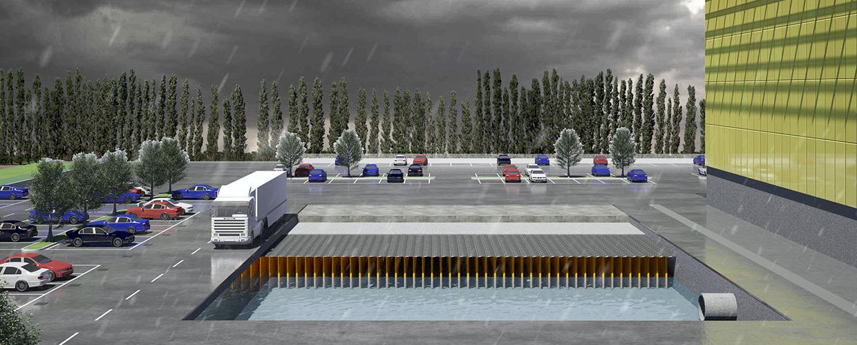 Betonbehälter für das Wassermanagement, Lösungen, die das Eindringen von Wasser in den Boden erleichtern. Anlagen zur Entsorgung von Abwasser in Gebäuden
