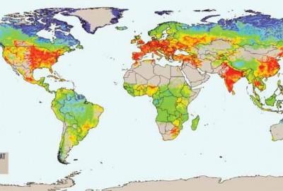 Weltkarte mit Vorkommen von Radon Gas