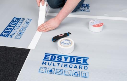 Bodenschutz mit Multi Board Kunststoff-Platten Stoßverklebung